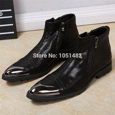 Fashion Men Ankle Boots Black Soft Leather - Side Zipper - Wide