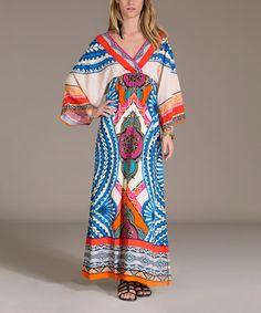 Love this Beige Geo Medallion Surplice Maxi Dress by Flying Tomato on #zulily! #zulilyfinds
