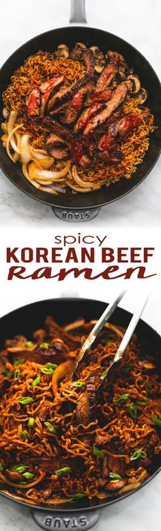 Authentic Spicy Korean Beef Ramen with an easy =, healthrecipe made from flank steak, gochujang (spicy korean chili), packaged ramen, and ready in just 30 minutes! I Love Food, Good Food, Yummy Food, Tasty, Korean Dishes, Beef And Noodles, Korean Noodles, Spicy Ramen Noodles, Tofu Ramen