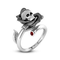 Gun-black Rose Classic Two Tone Fashion Skeleton Engagement Ring