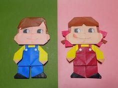 """折り紙のペコちゃんポコちゃん 靴の折り方と組み立て方 """"Character"""" Origami - YouTube"""