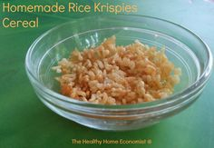 A recipe for homemade rice krispies to use either as a breakfast cereal or to make healthy rice krispies bars. http://www.thehealthyhomeeconomist.com/homemade-rice-krispies-cereal/