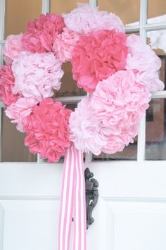 NINE + SIXTEEN: Paper Flower Wreath ~ Tutorial. I like this better than the coffee filter ones.
