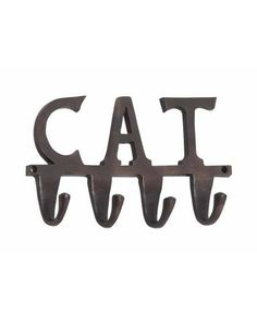 Cat Lovers Wall Hook Creation - Crafted from the fine grade aluminum and polished to perfection, this diligently durable home utility features an exquisite sheen and luster. This metallic designer artifact not only serves functional purpose but also makes for an awesome embellishment. Casted in three-alphabetical word CAT, this creative handiwork comes studded with four sturdy hook lets.