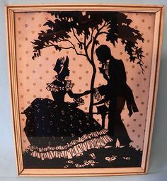Vintage Silhouette Victorian Courting Couple Reverse Painted Glass | eBay