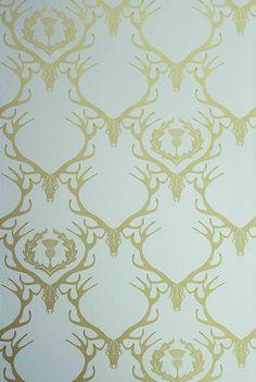 Barneby Gates - Deer Damask Duck Egg Blue & Gold Wallpaper