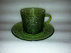 4 Fire King Green Soreno Cup & Saucer Set in Mint Condition  #FIREKING
