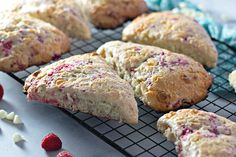 Moist, flaky, and bursting with flavour - these RASPBERRY WHITE CHOCOLATE SCONES are perfect breakfast or brunch! Best served with loved ones and plenty of coffee. #scones #breakfast #brunch White Chocolate Raspberry Scones, Perfect Breakfast, Easy Meals, Easy Recipes, Nutella, Bakery, Berries, Brunch, Favorite Recipes