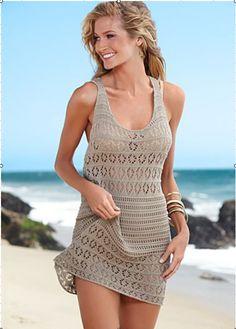 Racer Back Crochet Cover Up l Beachwear l www. - Racer Back Crochet Cover Up l Beachwear l www. Pull Crochet, Beach Crochet, Mode Crochet, Crochet Cover Up, Crochet Bikini, Lace Bikini, Crochet Skirts, Crochet Tunic, Cotton Crochet