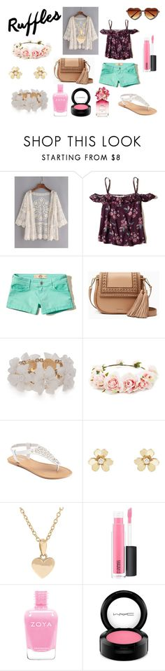 """Add Some Flair: Ruffled Tops"" by holly32196-1 on Polyvore featuring WithChic, Hollister Co., Kate Spade, New Directions, Forever 21, SONOMA Goods for Life, Van Cleef & Arpels, Pori, MAC Cosmetics and Marc Jacobs"