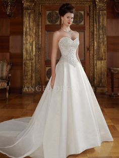 Sweetheart Satin A line Floor Length Wedding Dress With Embroidery