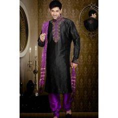 Presenting Black Art Silk #Sherwani with Stone Work Order Now@ http://zohraa.com/black-art-silk-sherwani-30680.html Rs. 5849.