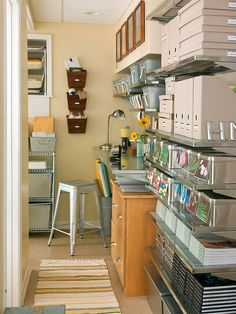 Unusual Spaces - If your basement's surface area is in short supply, enlist vertical storage solutions to keep clutter at bay. Wall-mount shelves turn this narrow passageway into a highly functional space; they can stash heavy items, such as stacks of boo Small Space Organization, Craft Organization, Storage Spaces, Craft Storage, Bathroom Organization, Mini Loft, Small Apartments, Small Spaces, Basement Storage