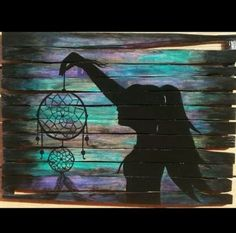 67 Ideas silhouette art painting canvases beautiful for 2019 Pallet Painting, Pallet Art, Painting On Wood, Painting & Drawing, Rustic Painting, Wood Artwork, Pallet Ideas, Pallet Wood, Dream Catcher Painting