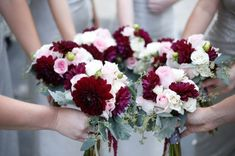 Sweet, pretty bridesmaid bouquets of blush pink and burgundy to accent - roses, dahlias, spray roses, eucalyptus and amaranthus. #leighflorist #pleasetouchmuseum #georgestreetphotography www.leighflorist.com by elise