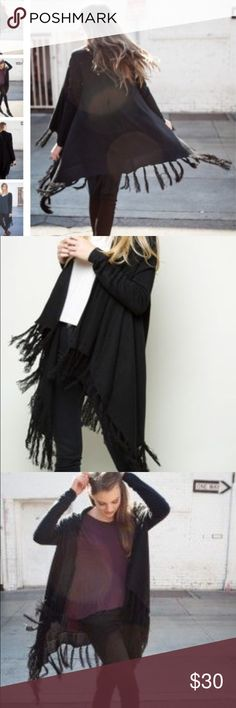 Brandy Melville fringe cardigan Super great open front sweater in black with fringe detailing. One size fits all! This has been worn, but is an amazing piece! Brandy Melville Sweaters Cardigans