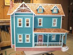 All wood new and unsued Dura Craft Farmhouse Dollhouse #DuraCraft