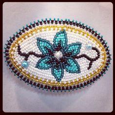 61.215667724,+-149.893661499 Green Flower Beaded Beadwork Hair Athabascan Alaskanative