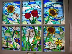 Stained Glass Mosaic Windows by Christine (Tina) Shoys Making Stained Glass, Custom Stained Glass, Faux Stained Glass, Stained Glass Designs, Stained Glass Projects, Stained Glass Patterns, Stained Glass Windows, Wooden Windows, Vintage Windows