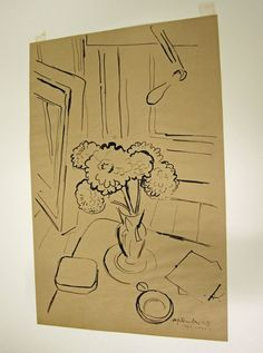 Design Sketch of Bouquet of #Flowers by Maurice Marinot   Corning Museum of #Glass