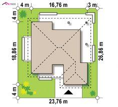 Gotowy projekt domu Z378 - Parterowy dom z garażem dwustanowiskowym. Modern House Plans, Modern House Design, 4 Bedroom House Designs, House Plans Mansion, Concept Home, Home Design Plans, Design Case, Bungalow, My House