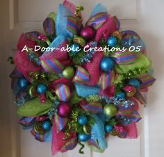 Large Winter/Christmas Turquoise/Hot Pink/Lime Green Faux Burlap Wreath