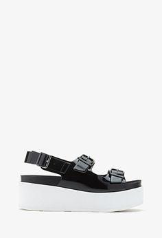 Buckled Flatform Sandals | FOREVER21 - 2000116579
