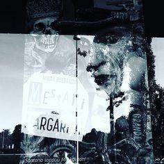 #blue #bw. #blackandwhitephotography. of #masterandmargarita #theater #poster in #reflection on #window. #windowshopping of magician Woland's black arts... #kansallisteatterissa #Kansallisteatteri. #Kansallisteatteri2017. 4/9/17