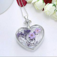 Glass Faceted Heart Necklace Dried Flowers