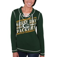 9078d10921 Majestic Green Bay Packers Women s Green Overtime Queen V-Neck Pullover  Sweatshirt