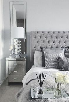 Black White and Silver Bedroom Decor. 20 Black White and Silver Bedroom Decor. Grey Bedroom Design, White Bedroom Decor, Bedroom Decor For Couples, Gray Bedroom, Small Room Bedroom, Room Ideas Bedroom, Rooms Home Decor, Home Bedroom, Small Rooms