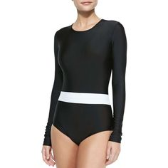 Cover Long-Sleeve One-Piece Swimsuit featuring polyvore women's fashion clothing swimwear one-piece swimsuits black and white bathing suit cover swimwear black and white swimsuit black and white one piece swimsuit swimsuit swimwear