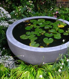 awesome backyard ponds and water garden landscaping ideas 00015 Small Water Features, Water Features In The Garden, Garden Features, Container Pond, Container Water Gardens, Water Containers, Container Gardening, Patio Pond, Ponds Backyard