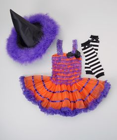 This Purple & Orange Witch Tutu Dress-Up Set - Toddler & Girls by TUTU COUTURE is perfect! #zulilyfinds