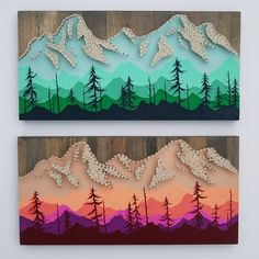 This beautiful string art is inspired by the mountain ranges of the Pacific Northwest. 8 x 16 inch lodge pole pine board stained grey. Hand painted ombre mountain scene available in a cool hues ranging in blues and greens to emulate spring. Steel wire nails and cream string pop