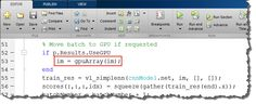 Figure 5: The `gpuArray` and `gather` functions allow you to transfer data from the MATLAB workspace to the GPU and back.