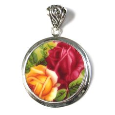 Broken China Jewelry Royal Albert Old Country Roses Double Pink Red Yellow Rose Sterling Circle Pendant