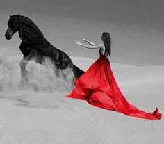 wild horse and woman photos Red Images, Red Pictures, Horse Girl Photography, Color Photography, Pretty Horses, Beautiful Horses, Color Splash, Color Pop, I See Red