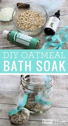"Are you tired and stressed out and feel like you are long overdue for a little ""me-time""? Take a few minutes and whip up this DIY Oatmeal Bath Soak recipe. You'll need just five ingredients (oatmeal, powdered milk, Castile soap, jojoba oil and lavender es"