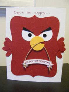 handmade Valentine ... punch art Angry Birds Valentine ... too funny!! ... Stampin' Up!
