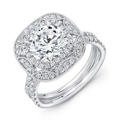 """Uneek Vintage-Style Round Diamond Engagement Ring with Cushion-Shaped Art Deco-Style Double Halo and Pave """"Silhouette"""" Double Shank, in 14K White Gold - MSRP in 14K Gold Starting at: $4807 MSRP in Platinium Starting at: $6356"""