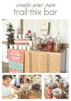 Simple to create trail mix bar.  Perfect for parties and weddings!  The Dempster Logbook.