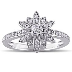 Laura Ashley Sterling Silver White Sapphire Flower Ring (Size 4.5), Women's
