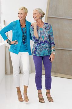 I should have wider leg pants, but I kind of like the look on the right - So Slimming Jeans #chicos #RiverchaseGalleria #spring