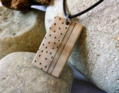 Mens Wood Necklace Black Leather Cord, Wood Necklace Jewelry for Men, Hand Engraved