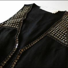 🆑Black Studded & Sequined Linen Vest Black studded and sequined vest with hook and eye closure. Sequins and studs are in gunmetal. Last pic shows some studs are coming up in some areas. Also some dried glue spots (I guess from where they tried to fix the studs... This was purchased in an overstock bundle). Can be fixed. Being sold as is. Price reflects flaws. ❌ NO TRADES ❌ NO LOWBALLING ❌ Boutique Tops