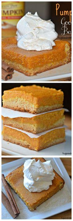 pumpkin gooey bars with cream