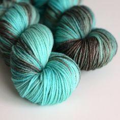 Hand Dyed Worsted Yarn - Superwash Merino 218 Yards - Kraken - Turquoise and Brown