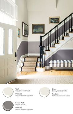 Five Home Decorating Trends From The 2020 Parade Of Homes - Unskinny Boppy - Entryway Color Ideas & Inspiration Palette Design, Flur Design, Accent Wall Colors, Interior Decorating, Interior Design, Stairway Decorating, Interior Ideas, Grey Room, House Stairs