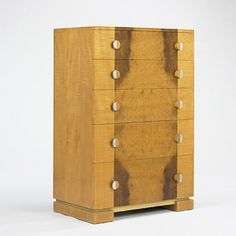 Donald Deskey, Tiger Maple and yew dresser for Company of Master Craftsmen, c1935.